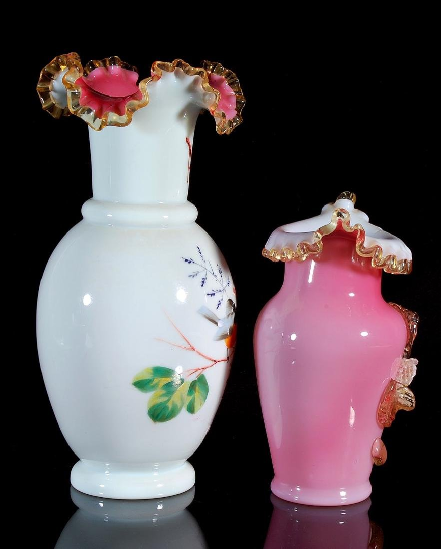 TWO 19TH CENTURY VICTORIAN ART GLASS VASES - 9