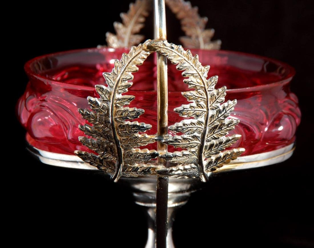 A PIGEON BLOOD GLASS OPEN SWEETMEAT IN SILVER PLATE - 7