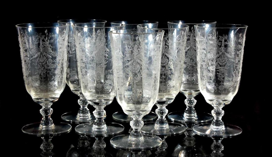 EIGHT HEISEY ORCHID PATTERN ICED TEA GLASSES