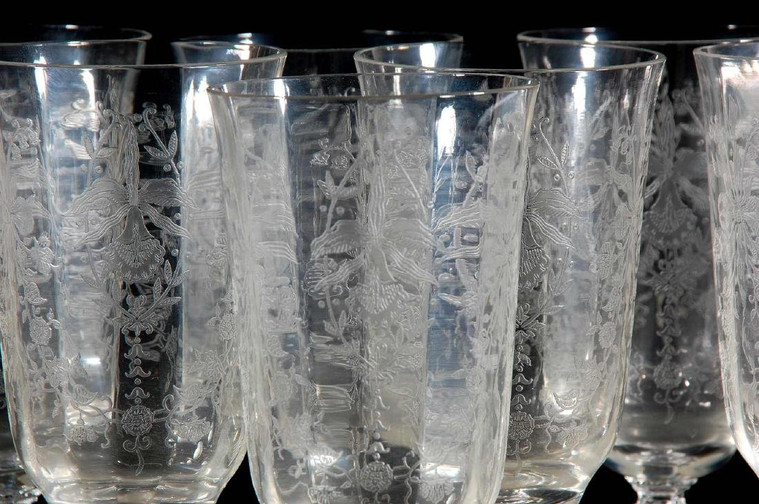 EIGHT HEISEY ORCHID PATTERN ICED TEA GLASSES - 3