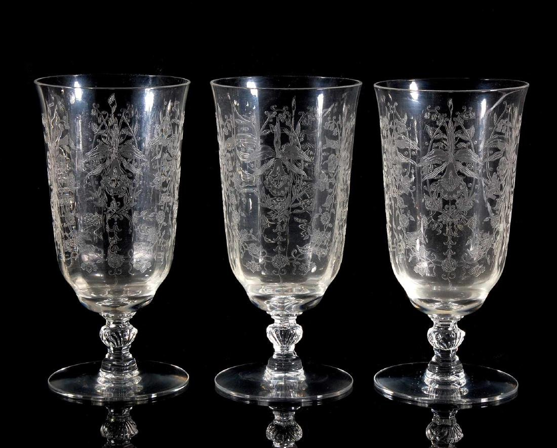 EIGHT HEISEY ORCHID PATTERN ICED TEA GLASSES - 4
