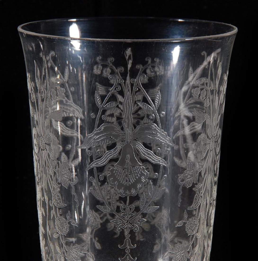 EIGHT HEISEY ORCHID PATTERN ICED TEA GLASSES - 6