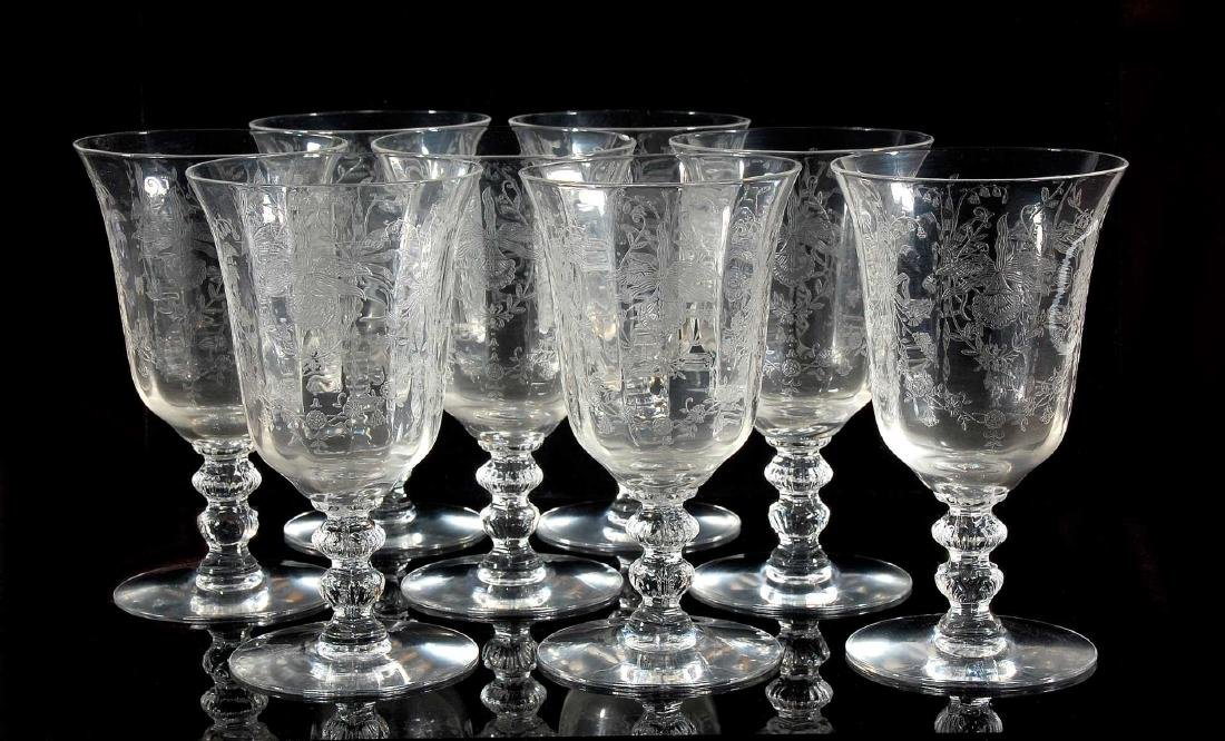 EIGHT HEISEY ORCHID PATTERN LOW WATER GOBLETS