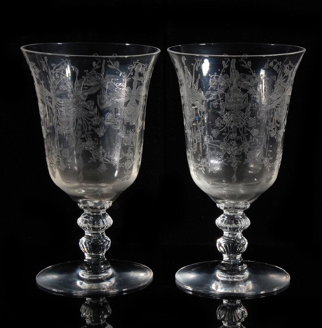 EIGHT HEISEY ORCHID PATTERN LOW WATER GOBLETS - 5