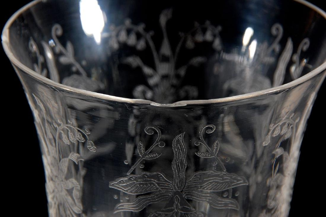 EIGHT HEISEY ORCHID PATTERN LOW WATER GOBLETS - 7