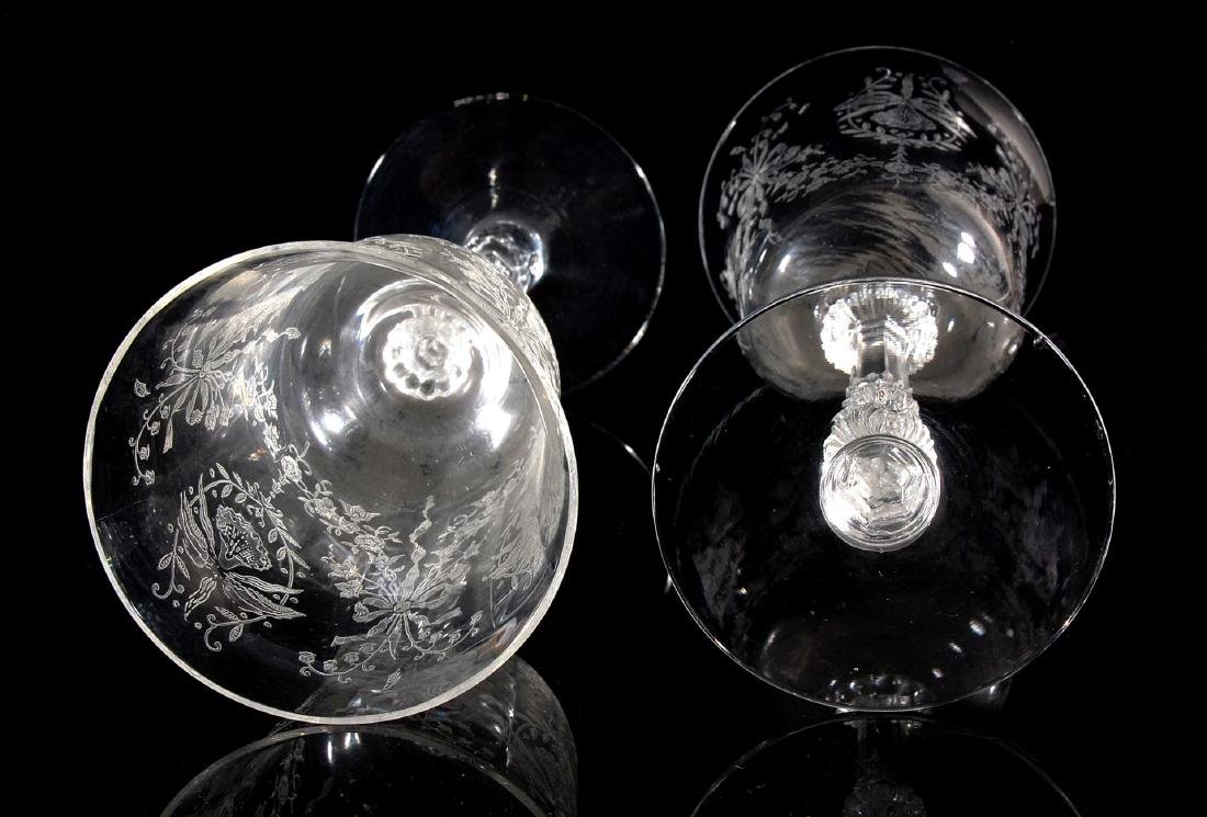 EIGHT HEISEY ORCHID PATTERN WATER GOBLETS - 10