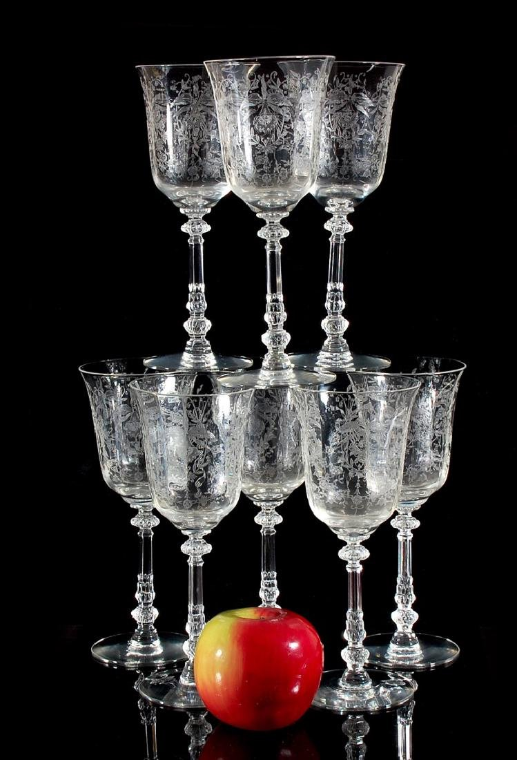 EIGHT HEISEY ORCHID PATTERN WATER GOBLETS - 2