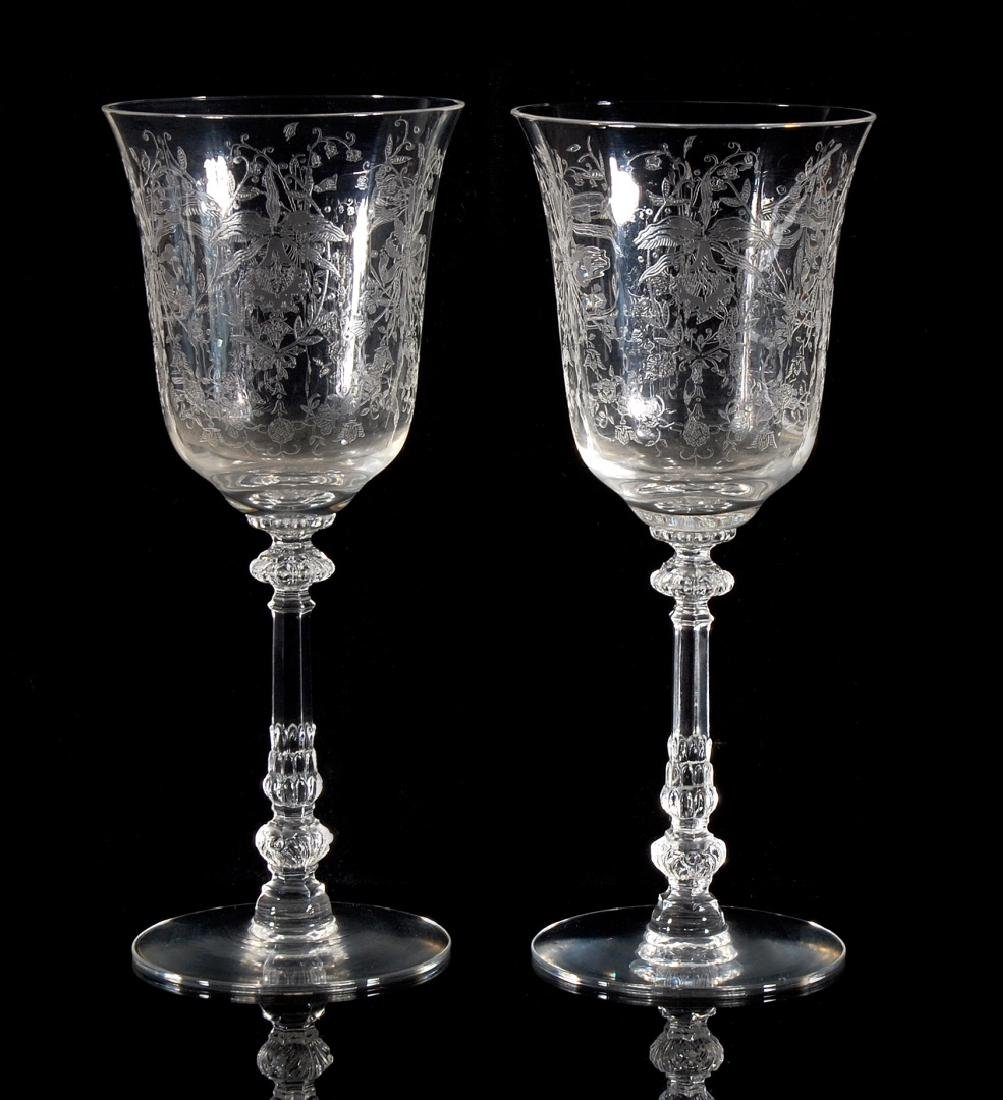 EIGHT HEISEY ORCHID PATTERN WATER GOBLETS - 6