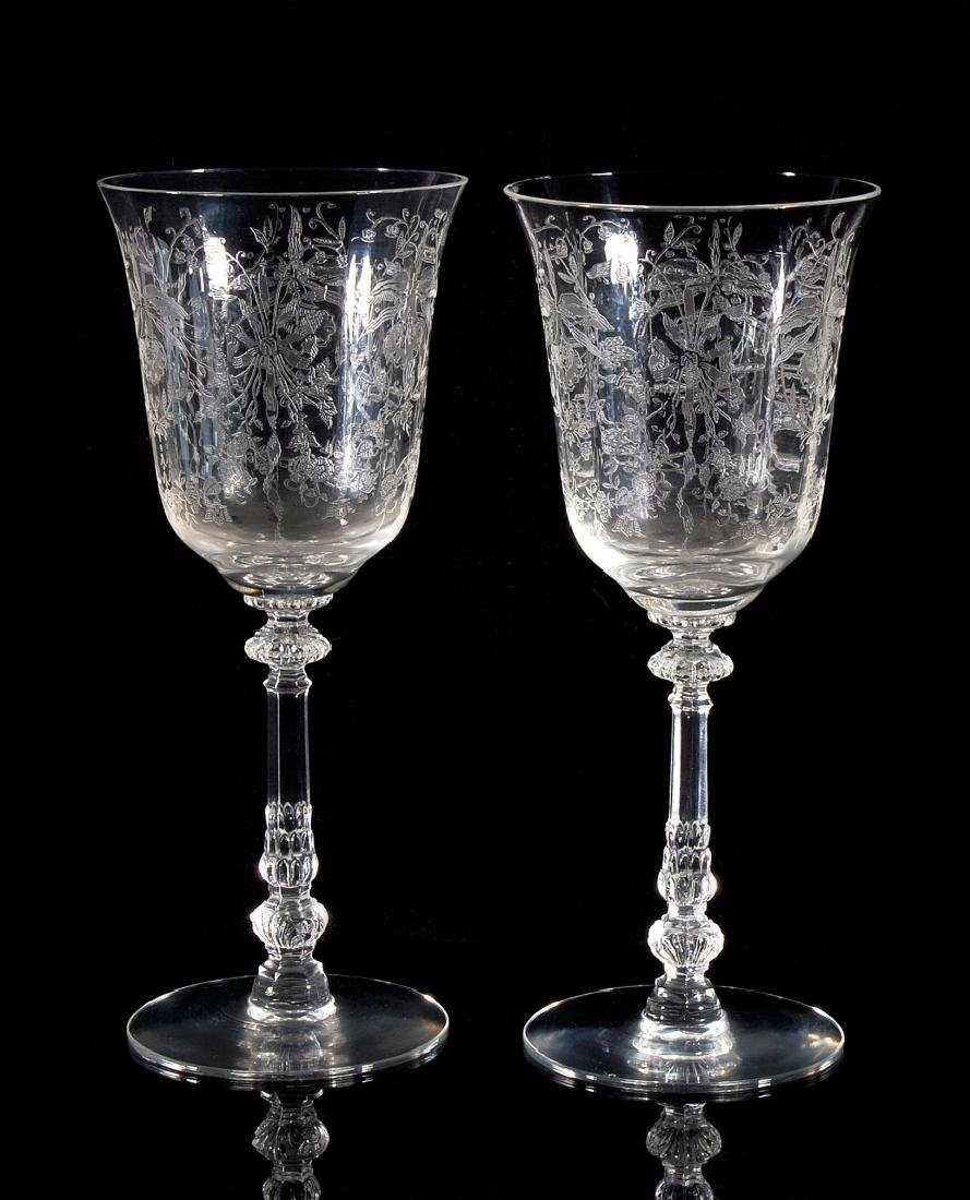 EIGHT HEISEY ORCHID PATTERN WATER GOBLETS - 8