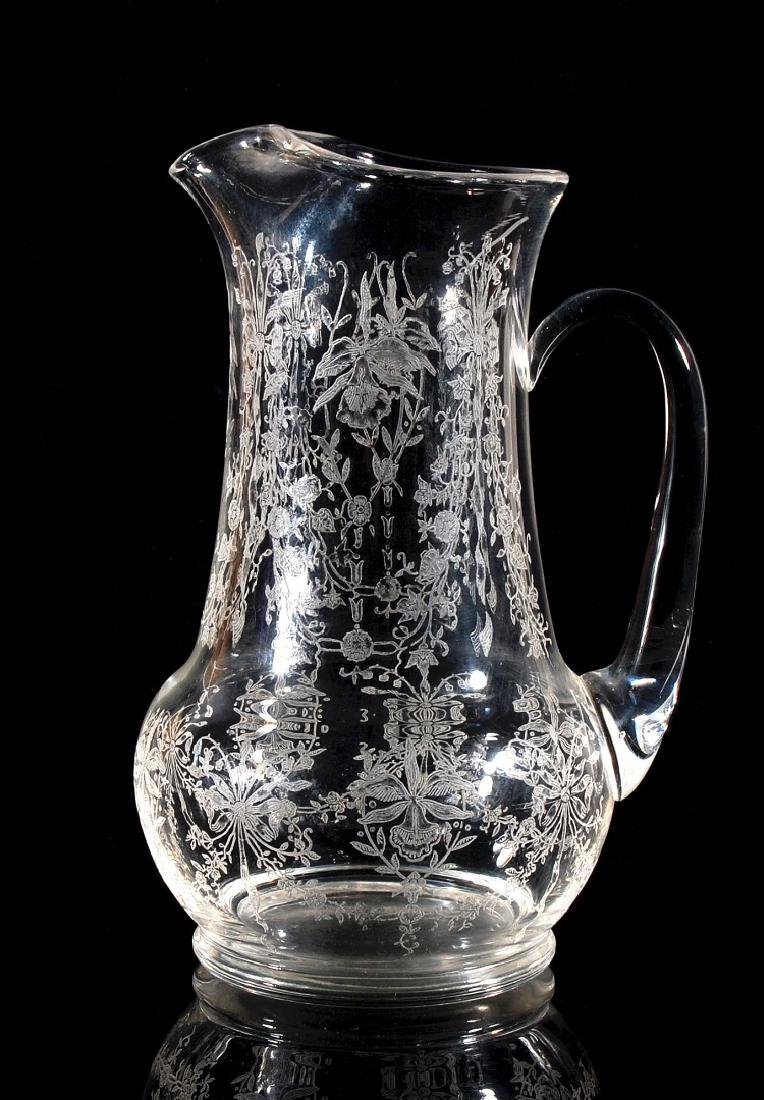 HEISEY GLASS ORCHID PATTERN 64 OZ JUG PITCHER