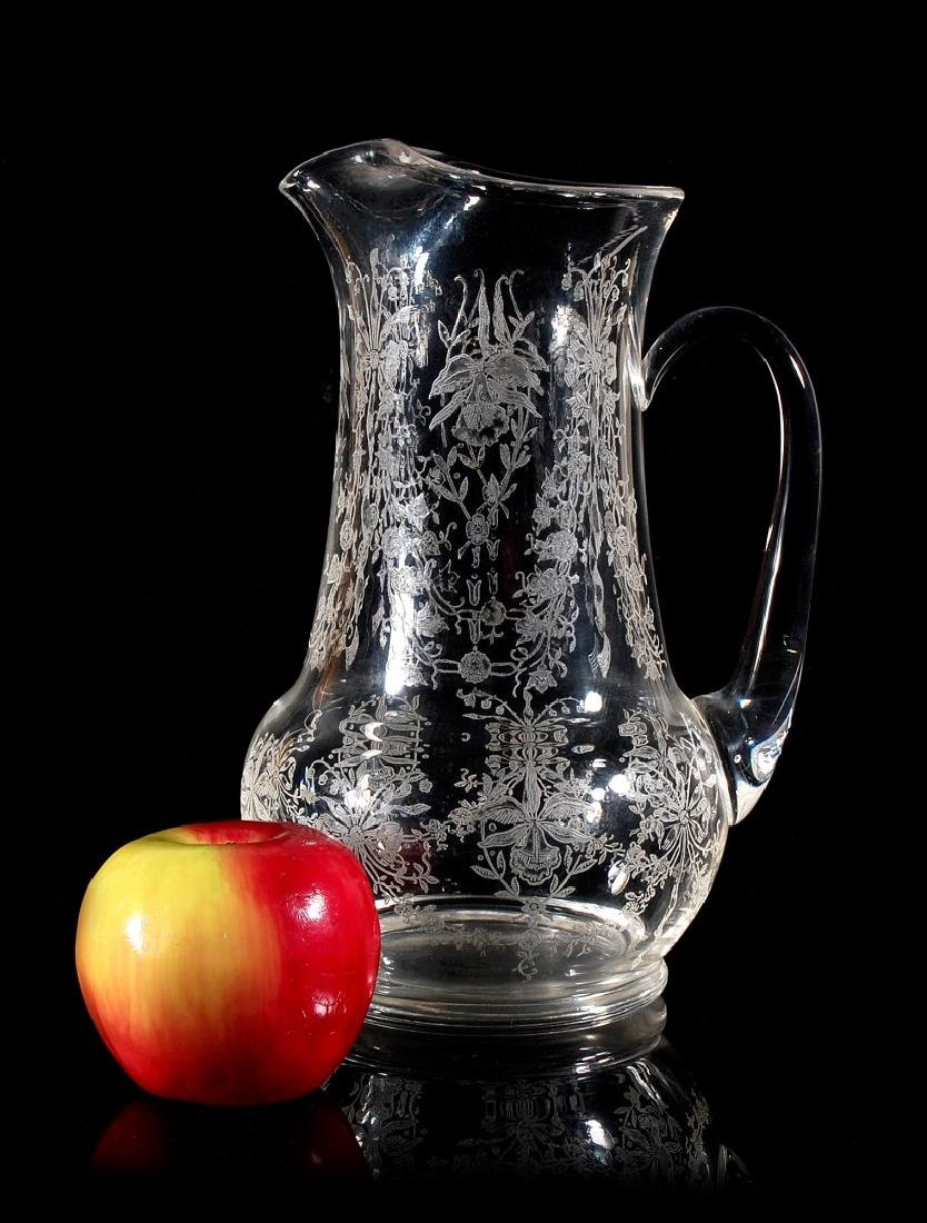 HEISEY GLASS ORCHID PATTERN 64 OZ JUG PITCHER - 2