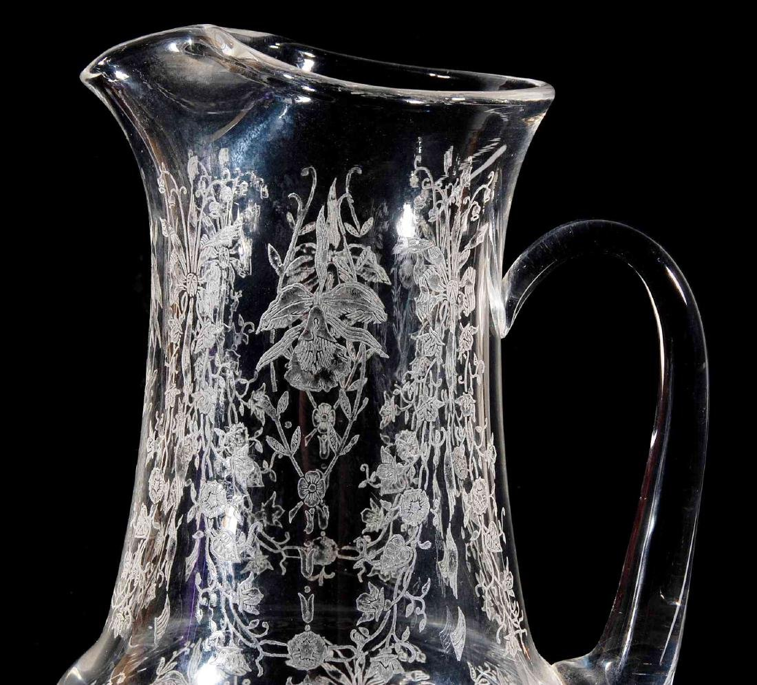 HEISEY GLASS ORCHID PATTERN 64 OZ JUG PITCHER - 3
