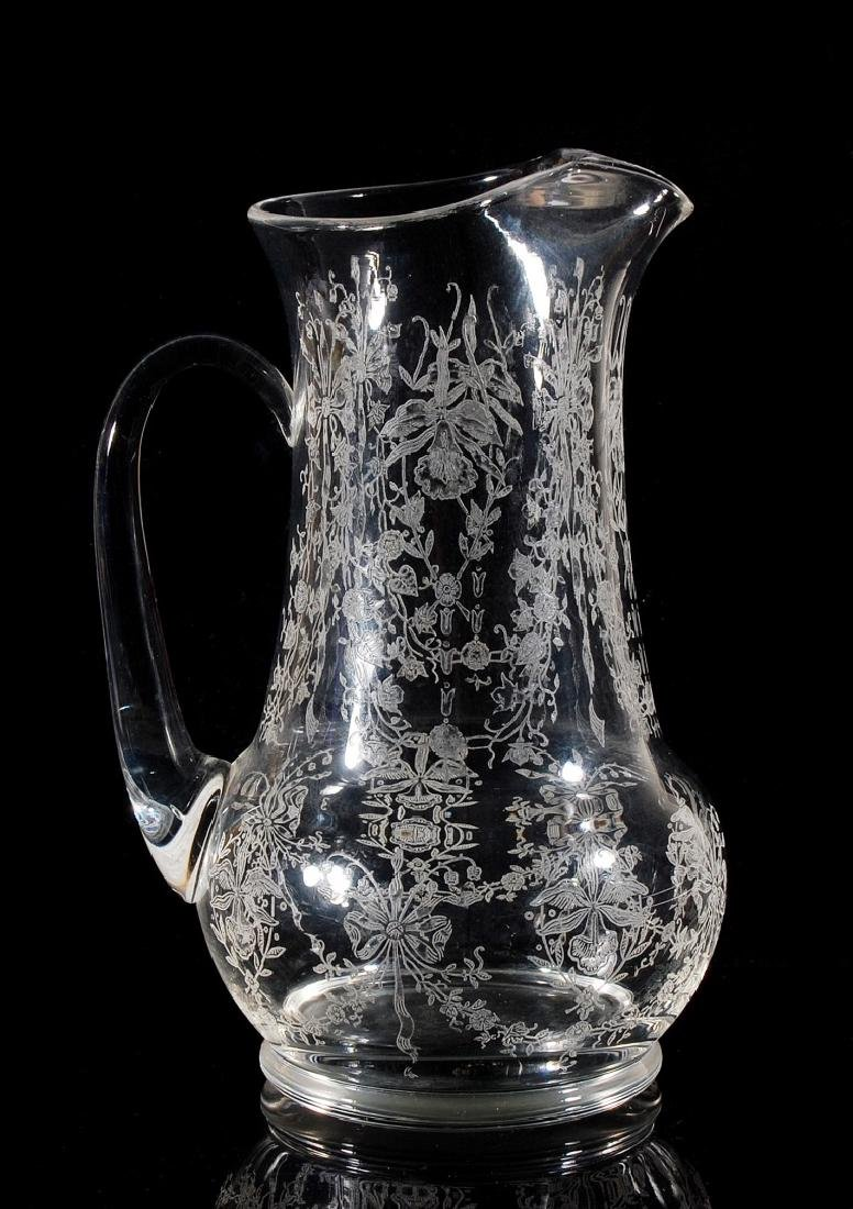 HEISEY GLASS ORCHID PATTERN 64 OZ JUG PITCHER - 6