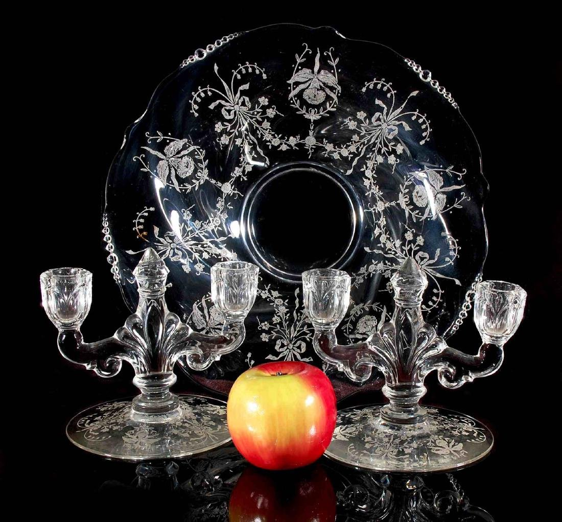 HEISEY GLASS ORCHID CONSOLE BOWL WITH CANDLESTICKS - 2