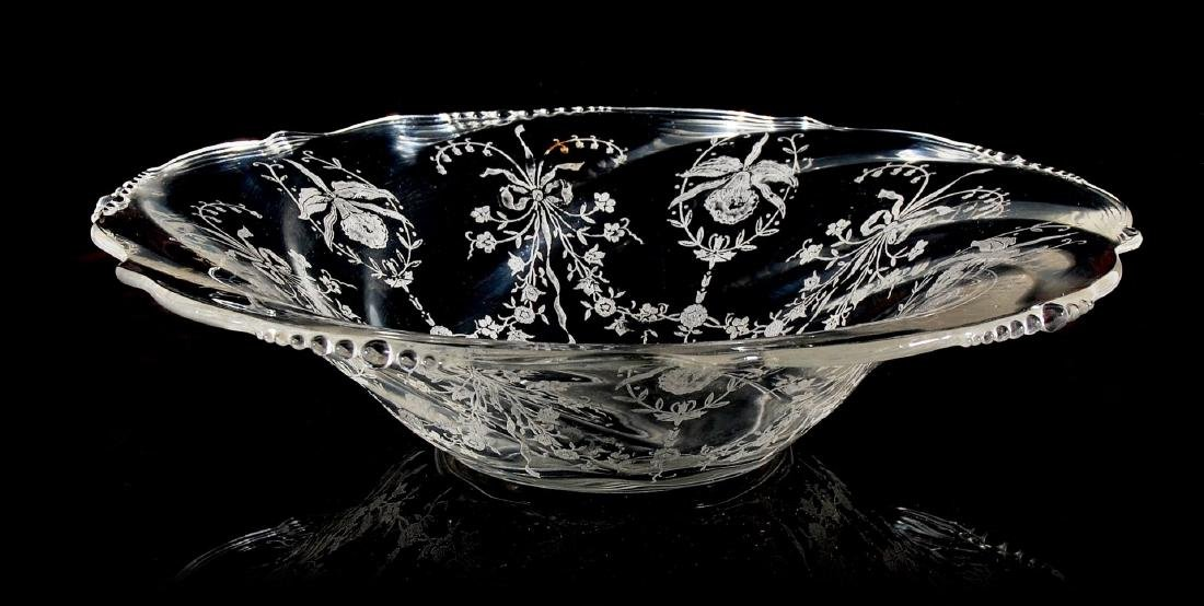 HEISEY GLASS ORCHID CONSOLE BOWL WITH CANDLESTICKS - 5