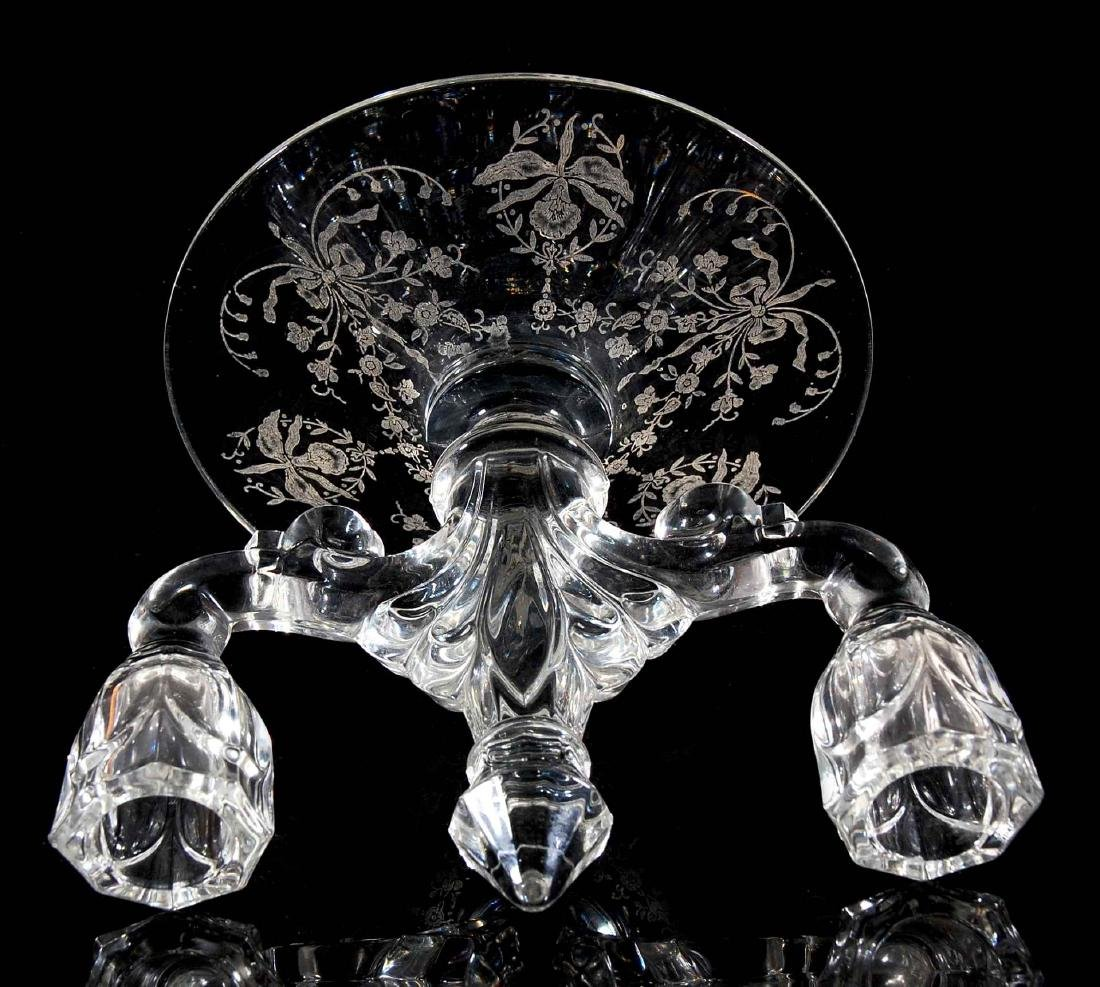 HEISEY GLASS ORCHID CONSOLE BOWL WITH CANDLESTICKS - 7