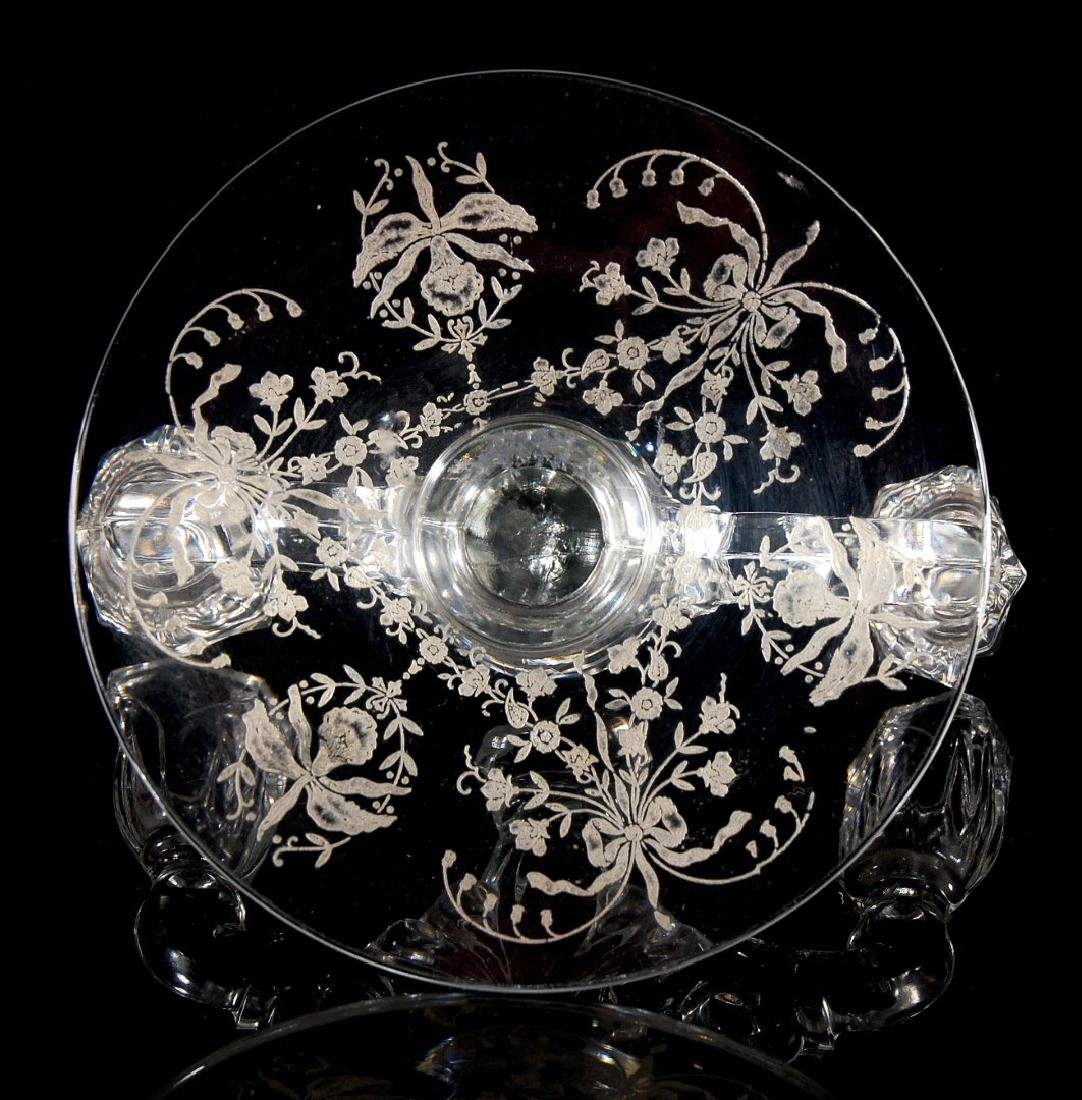 HEISEY GLASS ORCHID CONSOLE BOWL WITH CANDLESTICKS - 9