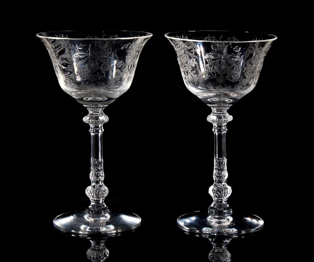 EIGHT HEISEY ORCHID PATTERN TALL SHERBETS - 5