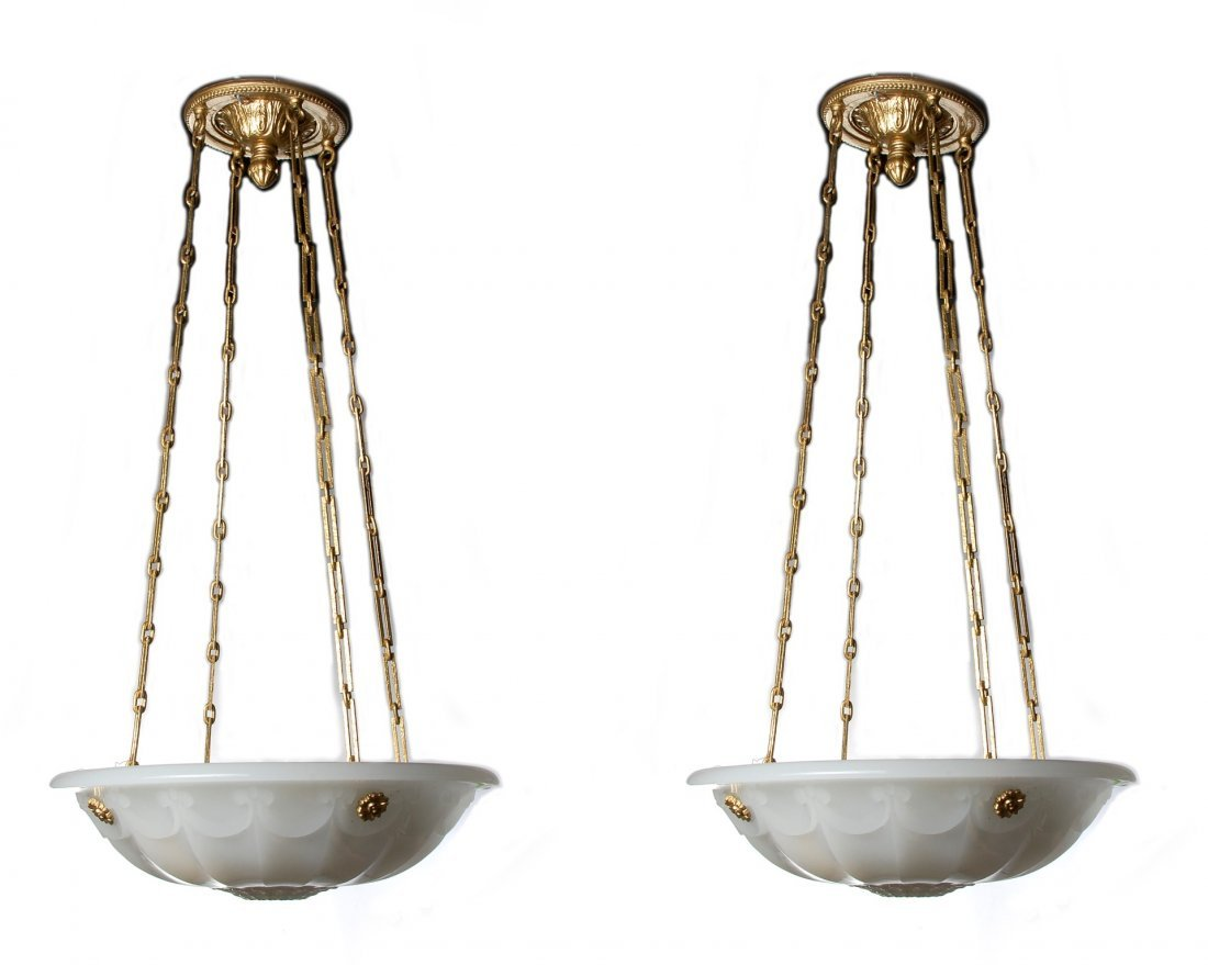 A PAIR EARLY 20TH C. GLASS PLAFONNIER CHANDELIERS