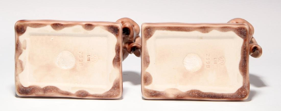 A PAIR OF ROOKWOOD ART POTTERY DOG BOOKENDS - 8