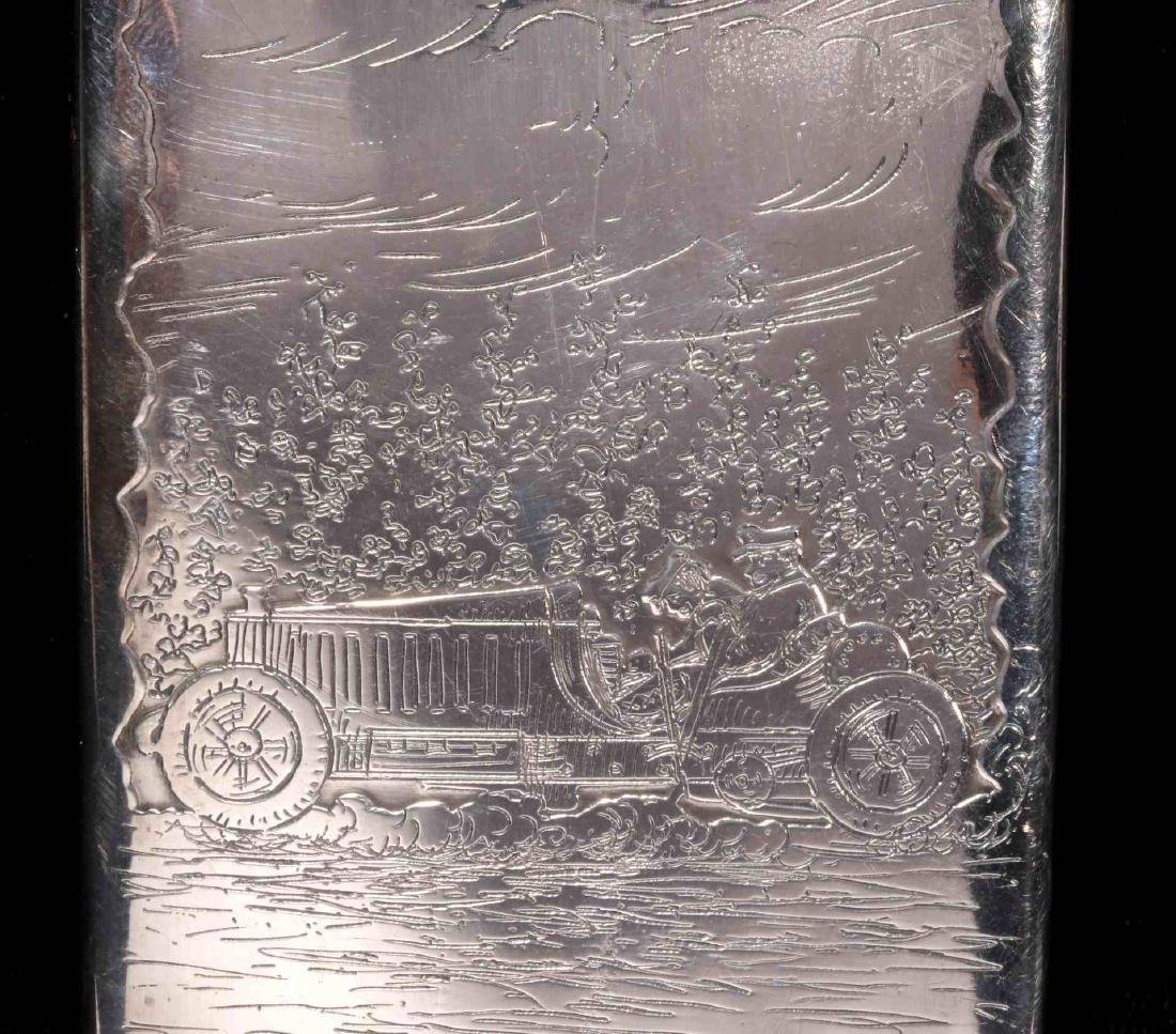 AN EARLY 20TH C. STERLING CASE WITH EARLY AUTOMOBILE - 3