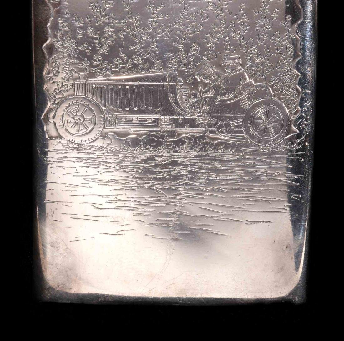 AN EARLY 20TH C. STERLING CASE WITH EARLY AUTOMOBILE - 4