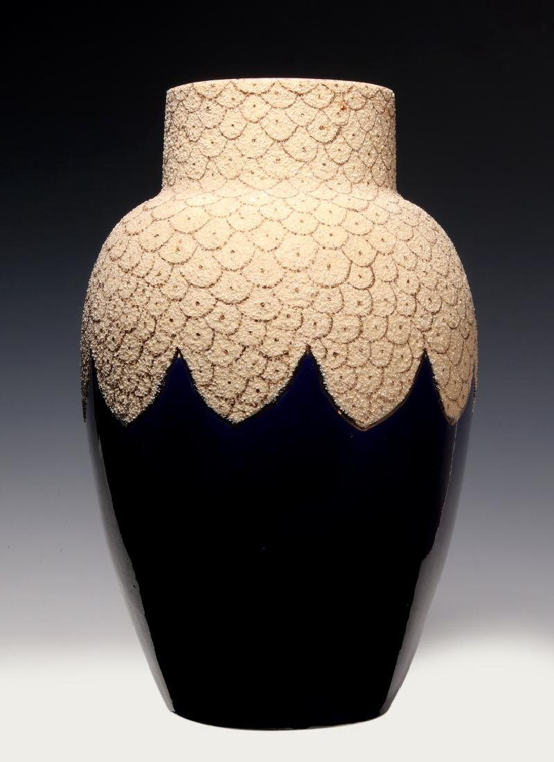 A 19TH C. FRENCH SAND MAJOLICA AND COBALT VASE