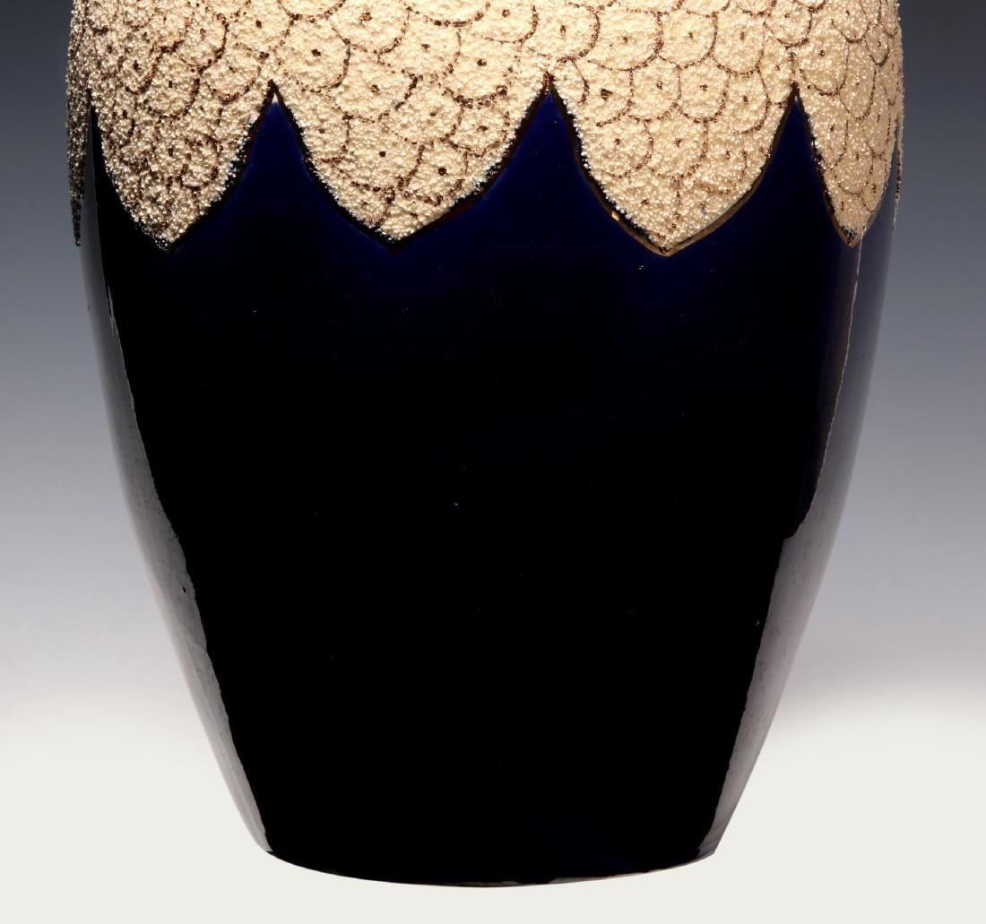 A 19TH C. FRENCH SAND MAJOLICA AND COBALT VASE - 3
