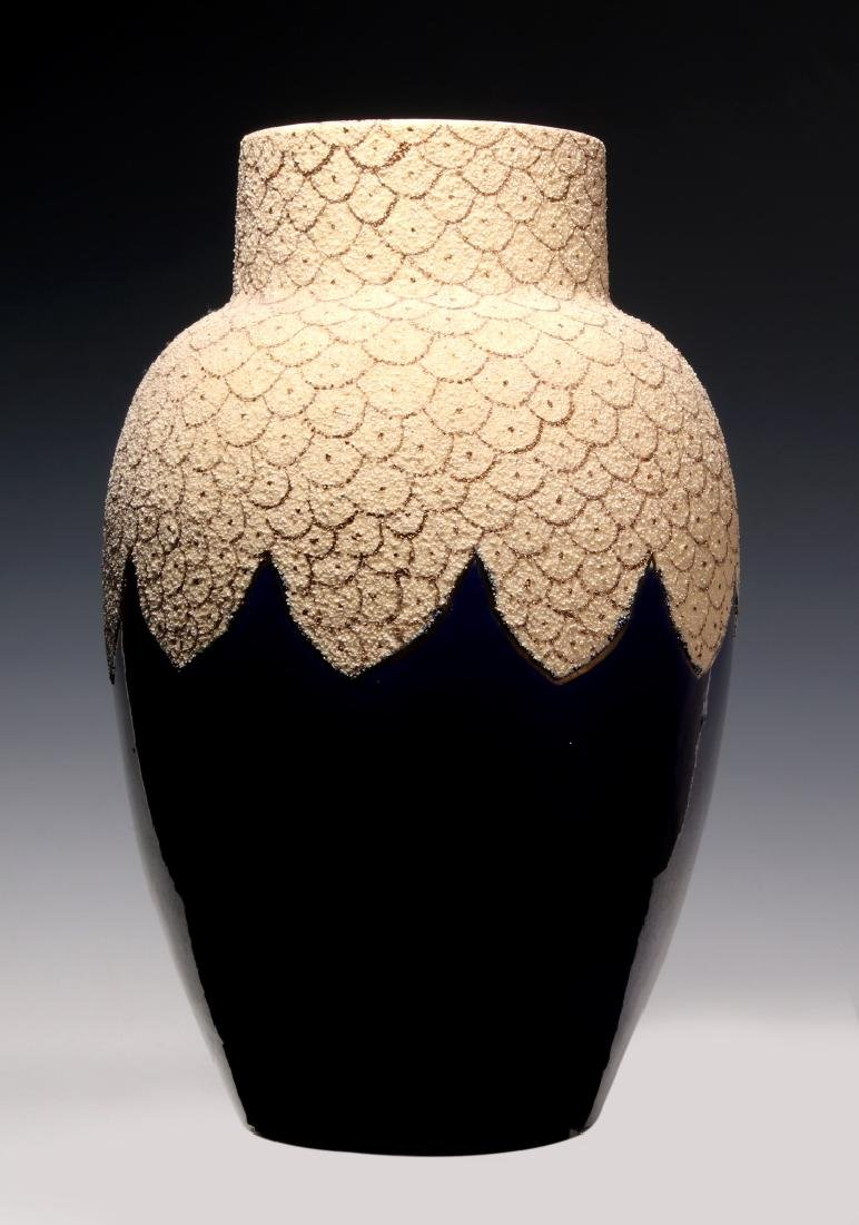 A 19TH C. FRENCH SAND MAJOLICA AND COBALT VASE - 5