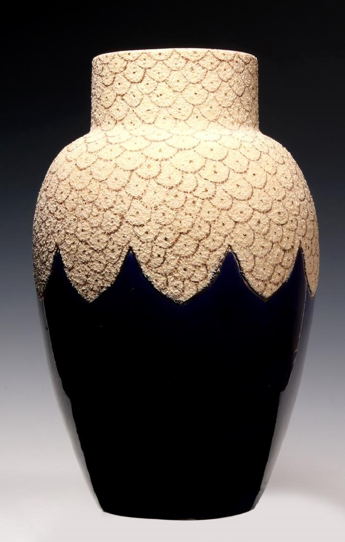 A 19TH C. FRENCH SAND MAJOLICA AND COBALT VASE - 6