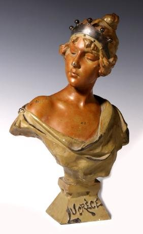 A 19TH C. PATINATED SPELTER BUST AFTER E. VILLANIS
