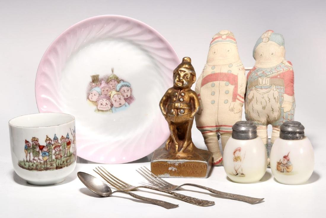 A COLLECTION OF ANTIQUE BROWNIE CHARACTER ITEMS