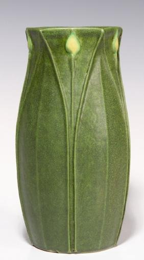 A GREEN MATTE ARTS AND CRAFTS STYLE VASE DATED 1998