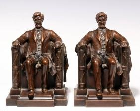 PATINATED METAL JENNINGS BROS. A. LINCOLN BOOKENDS