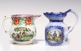 EARLY 19TH C. FLOW BLUE AND LUSTRE JUGS