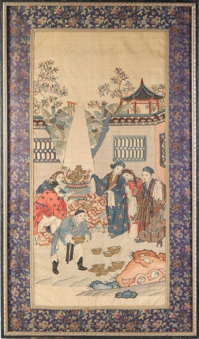 A GOOD EARLY 20TH C. FRAMED CHINESE KESI TAPESTRY
