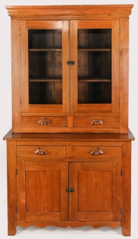 A 19TH C. AMERICAN WALNUT STEP-BACK CUPBOARD