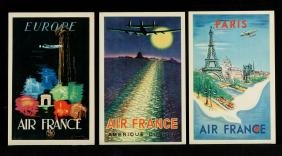 FIVE AIR FRANCE POSTER STYLE POSTCARDS