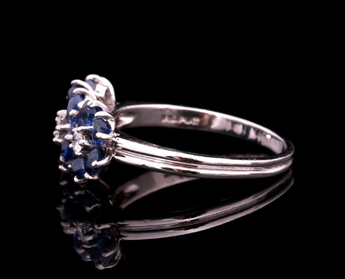 A DIAMOND AND PLATINUM FASHION RING WITH BLUE GEMS - 5