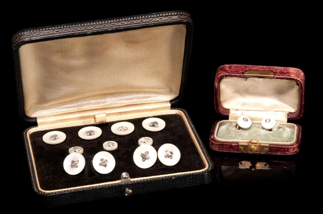 DIAMOND AND MOTHER OF PEARL BUTTONS AND STUDS