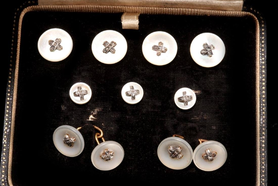 DIAMOND AND MOTHER OF PEARL BUTTONS AND STUDS - 2