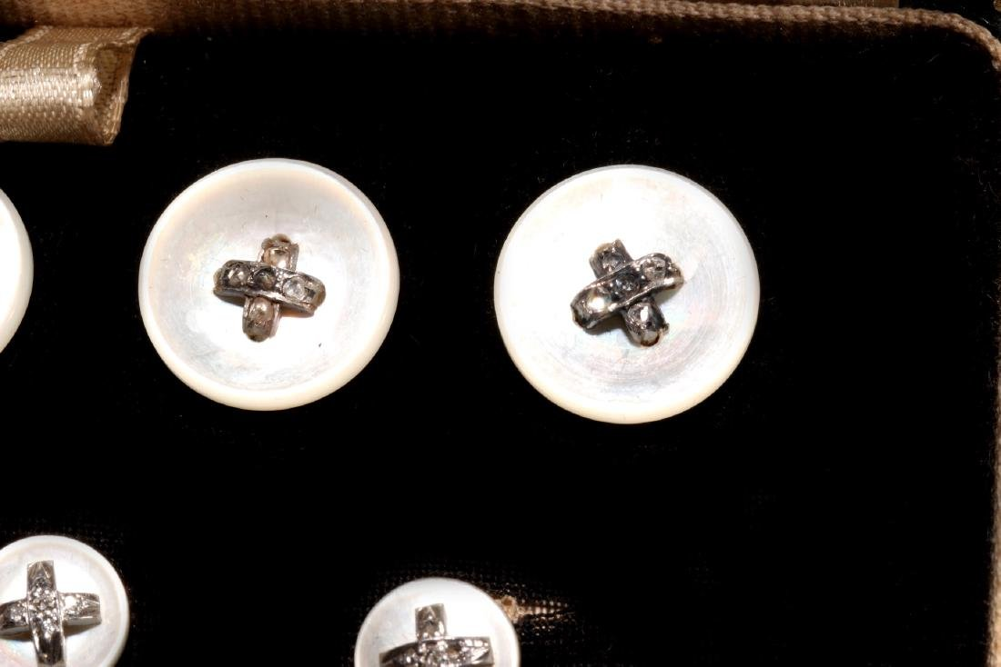 DIAMOND AND MOTHER OF PEARL BUTTONS AND STUDS - 3