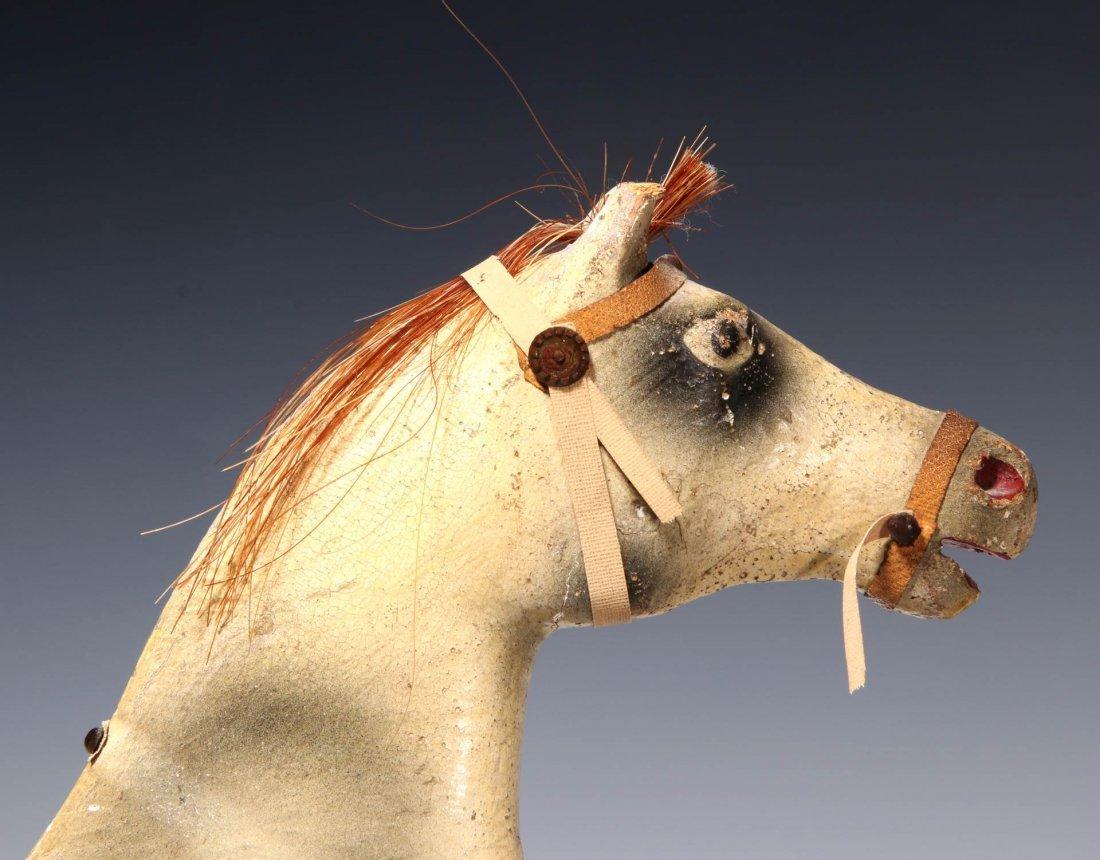 AN UNUSUAL 19TH C. KEY WIND PLATFORM HORSE ON WHEELS - 10