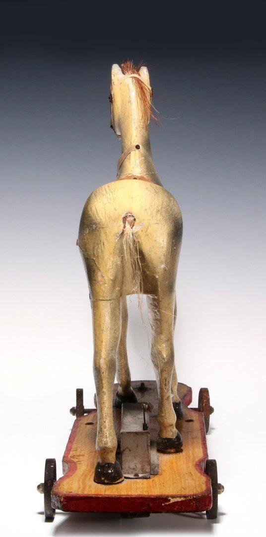 AN UNUSUAL 19TH C. KEY WIND PLATFORM HORSE ON WHEELS - 5