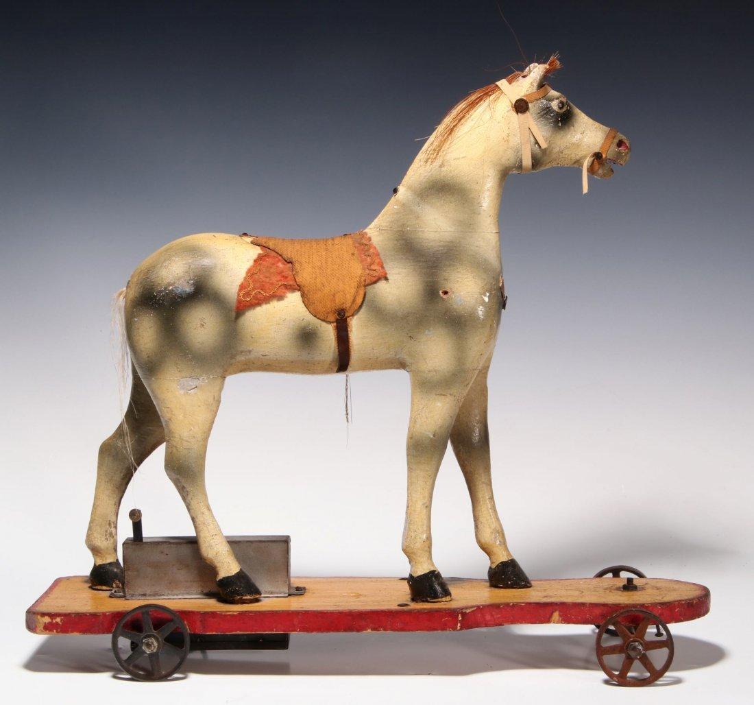 AN UNUSUAL 19TH C. KEY WIND PLATFORM HORSE ON WHEELS - 6