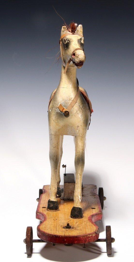 AN UNUSUAL 19TH C. KEY WIND PLATFORM HORSE ON WHEELS - 7