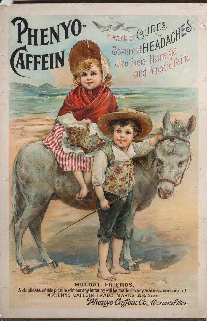 A RARE CIRCA 1880 PHENYO-CAFFEIN QUACK MEDS POSTER