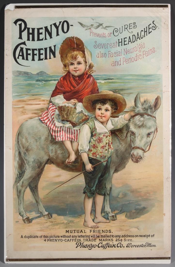 A RARE CIRCA 1880 PHENYO-CAFFEIN QUACK MEDS POSTER - 2