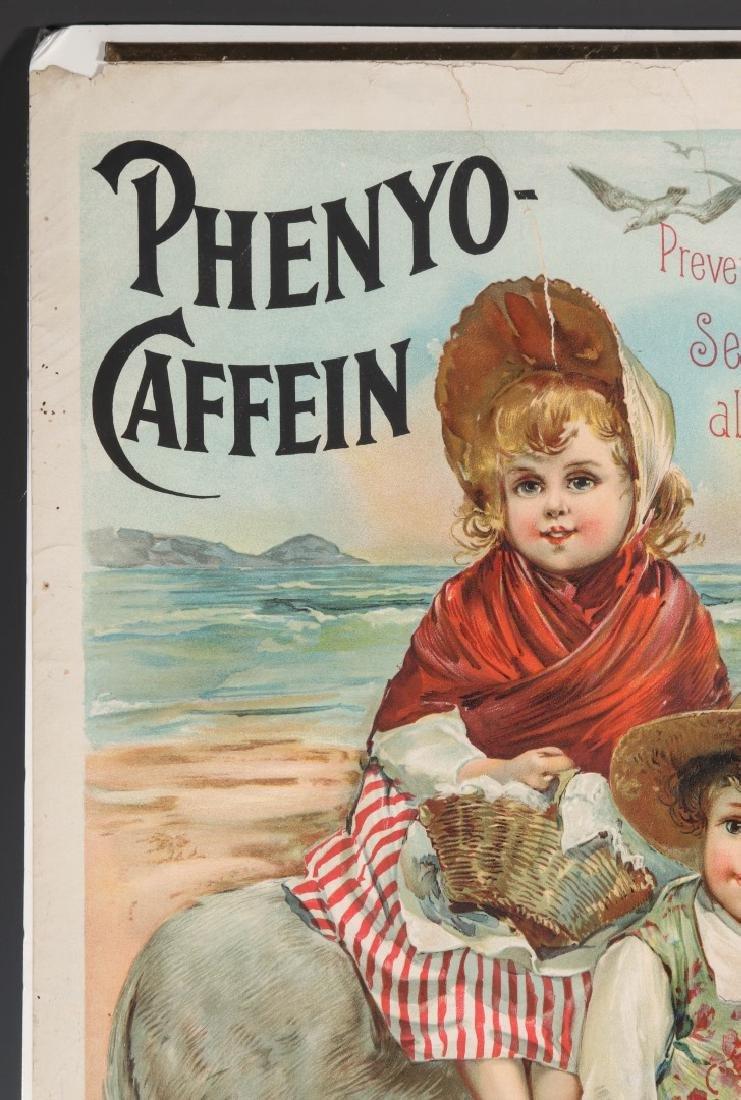 A RARE CIRCA 1880 PHENYO-CAFFEIN QUACK MEDS POSTER - 3