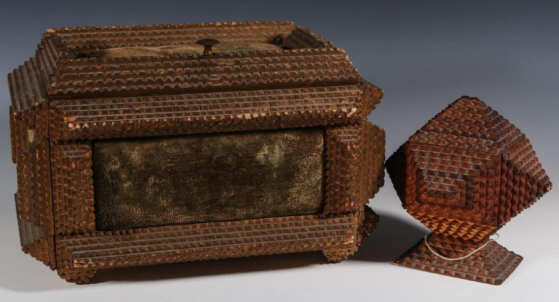 TWO EARLY 20TH CENTURY TRAMP ART BOXES
